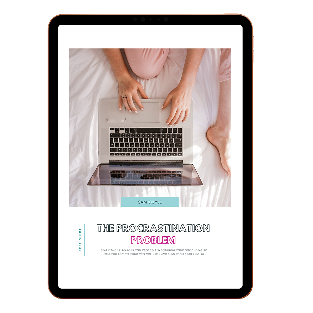 An image of The Procrastinaton Problem downloadable guide on an Ipad. The Text says Learn the 12 reasons you keep self sabotaging all your good ideas so that you can hit your revenue goal and finally feel successful.